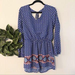 One Clothing blue long sleeve v neck romper sz L